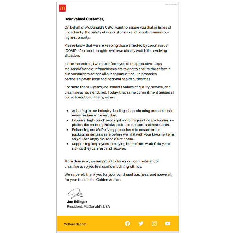 Joe Erlinger McDonalds President USA Letter to Customers on Covid-19