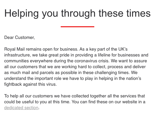 Royal Mail Email to Customers on Coronavirus