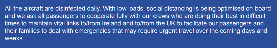 Ryanair Email to Customers on Coronavirus