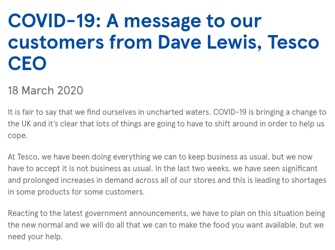 Tesco CEO Dave Lewis' letter on Covid-19