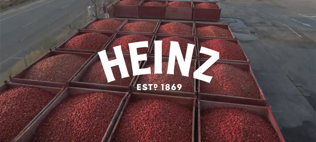 Heinz logo over tomatoes