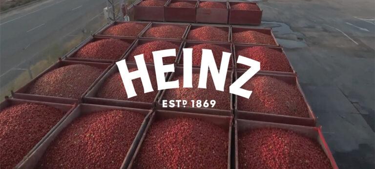 Heinz logo over tomatoes