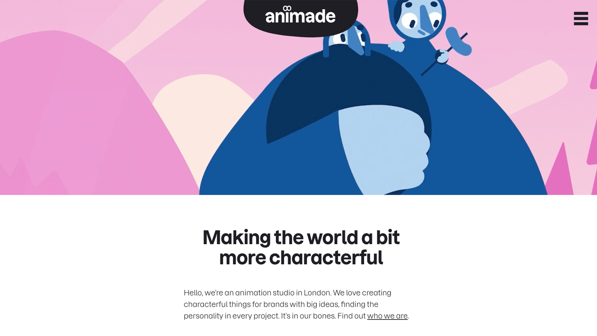 Animade website homepage