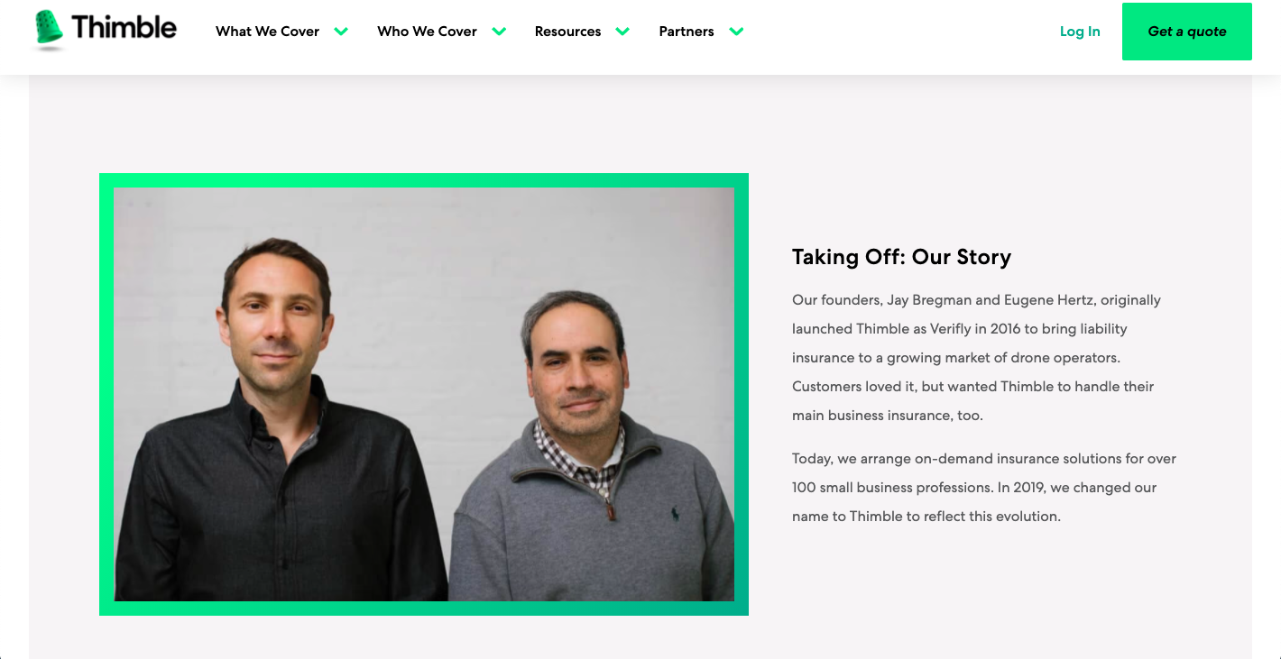 Thimble website founder story