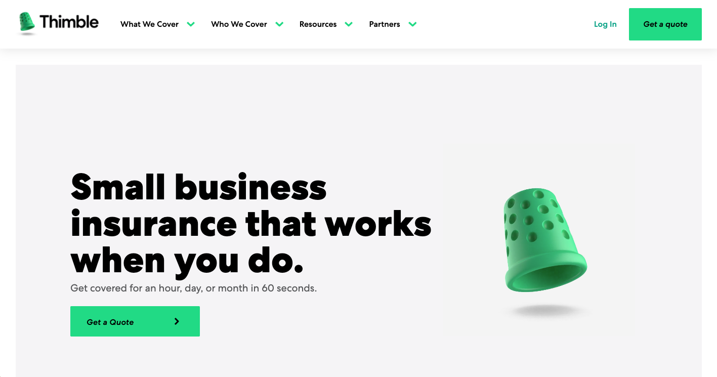 Thimble website homepage image