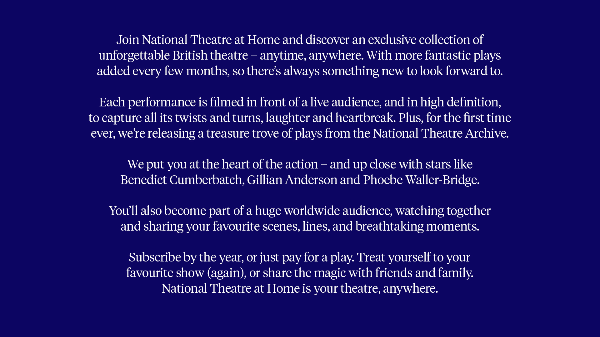 National Theatre at Home copywriting